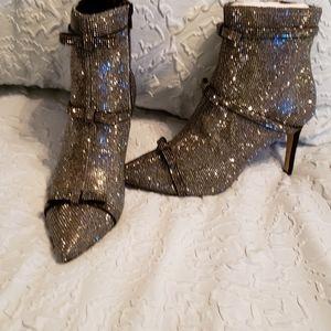 Mini rhinestone ankle booties